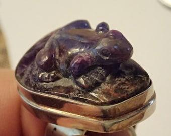 Carved Purple Sugilite Frog Sterling Silver Ring. Adjustable
