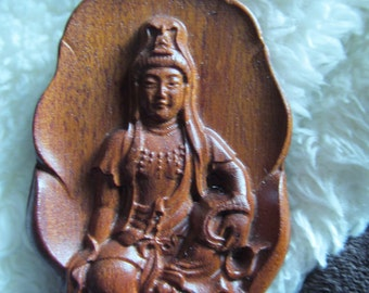 Exquisitely Carved Wood Kwan Yin (Quan Yin) Pineapple Quartz Beaded Necklace, Amulet