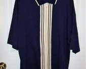 Vintage Mens Navy & White Zip Front Short Sleeve Cardigan Sweater Large Only 12 USD