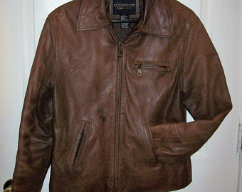 Vintage Ladies Brown Distressed Leather Jacket by Metropolitan Small Only 15 USD