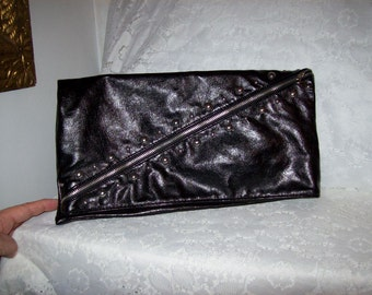 Vintage 80s Black Foldover Clutch Bag w/ Silver Studs Only 8 USD