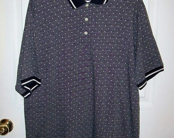 Vintage Mens Navy Geometric Print Polo Golf Shirt by Catalina Large Only 8 USD