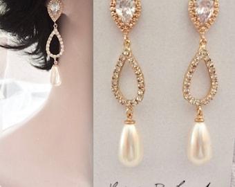Gold pearl drop earrings, Sterling silver posts, Crystal teardrops, Swarovski pearl earrings, Brides earrings, Gold wedding earrings,