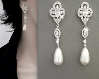 Pearl earrings - AAA+ Micro Cubic zirconia's earrings, Vintage style pearl earrings, Swarovski pearl earrings, Brides Pearl drop earrings