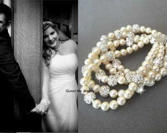 Pearl Cuff bracelet ~ 5 Strands ~ Statement Bracelet ~ Chunky pearl bracelet ~ Elegant ~ Bridal Jewelry ~ Stunning ~ Brides bracelet ~