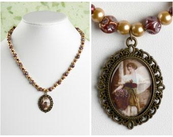 Romantic Vintage Lady Necklace. Antique 1900s Framed Portrait Beaded Necklace.