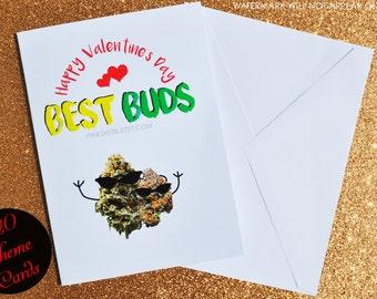 Best buds valentine card, best buds card, best buds greeting card, best friends card, bff card, 420 card, weed valentine card, happy 420