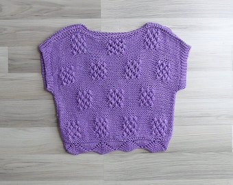 Vintage 80's Purple Checkerboard & Zig Zag Slouchy Knit Sweater Top S or M