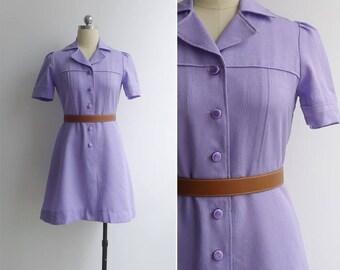 Vintage 70's 'Cotton Candy' Lilac Purple Shirtwaist Dress XS or S