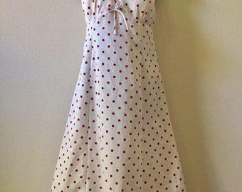 Vintage polka dot dress, red white polka dots, XL vintage dress, plus size dress, summer dress, empire waist, trapeze dress, R&K, pin up