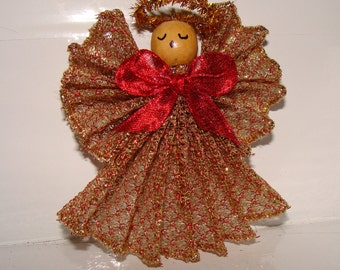 Angel,Handmade,Gold and Red Mesh Ornament
