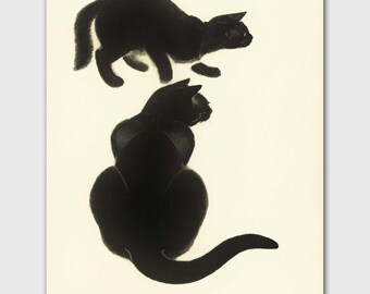 "Cat Decor (Cat Office, Vintage Black Cat Art) Clare Turlay Newberry --- ""Hide and Seek"""