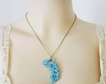 Vintage Blue Plastic Flower Bouquet Necklace