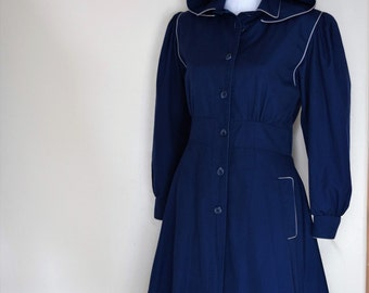 salvation armani vintage blue coat - hooded womens vintage coat - zip-in liner - removable hood - blue coat - vintage size 7/8 petite
