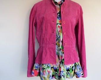 salvation armani vintage jacket - hot pink - corduroy jacket - ruffle waste jacket - button-up corduroy jacket - hot pink vintage - 1990's