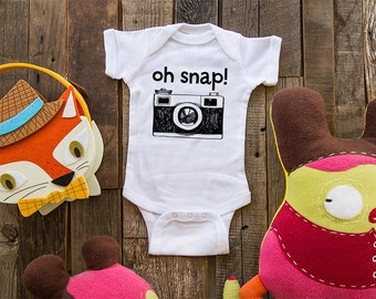 Oh snap! Camera - funny saying printed on Infant Baby One-piece, Infant Tee, Toddler T-Shirts - Many sizes