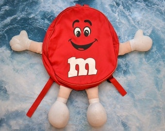 Vintage 1994 90s M&Ms M and Ms Red Candy Backpack Book Bag