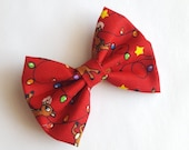 Red Christmas hair bow -green red white Rudolph  -holiday stocking stuffer for baby toddler girls- cute hair accessories