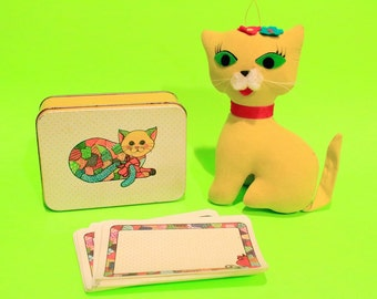 Vintage 70s Flock Cat Set Office Desk Notepad Home Decor Gift Retro Kitsch