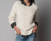 Cream soft knit sweater, Outwear merino wool cozy pullover by Texturable