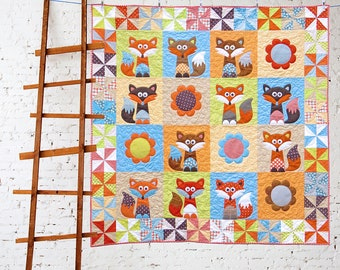 MR FOX'S GARDEN | pdf Quilt Pattern | Patterns | Quilts | Fox Quilt | Fox | Applique Quilts | Happy Quilts | Fun Quilts | Kids Quilts