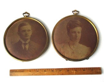 Antique Large Tintype Victorian Portraits, Brass Frames, double portrait, couple, man and wife, late 1800's,