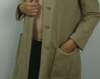 oat VINTAGE WOOL COAT with genuine fur collar luxe S 60's 1960's