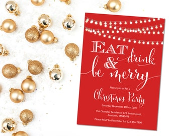 Christmas Party Printable Invite, Printable Red Christmas Party Invitation, Red Eat Drink & Be Merry Party Invitation, Download 205-XM