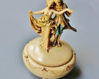 Vintage Fontanini DEPOSE ITALY Plastic Victorian Dancers Trinket Box Mid Century
