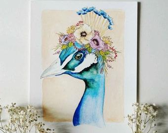 Regal Peacock - Animal Floral Crown Watercolor Print - 8x10