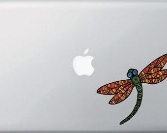 "CLR:MB - Dragonfly - Patterned Dragonfly - Vinyl Laptop Macbook Decal - Copyright ©2016 Yadda-Yadda Design Co. (5""w x 4.75""h)(Color Choices)"