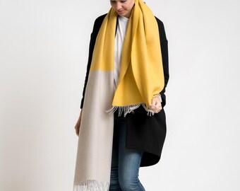 merino color block scarf // mustard - creme