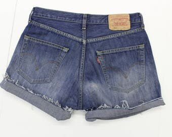 Vintage Levi's Denim Shorts - Distressed - -Blue denim -pockets - short- turn up-unisex-32 W