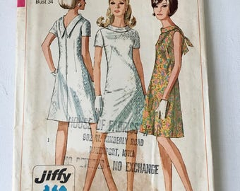 Vintage 1960s  Simplicity 7129 Dress Pattern, High Standup Round Collar, Drop V in Back, Misses Size 14 Bust 34 JIFFY