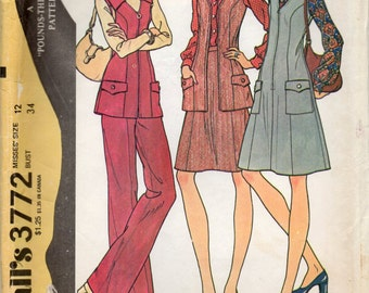 Princess Jumper Or Vest Skirt And Pants With Left Side Zipper Size 12 Vintage Dress Sewing Pattern 1973 McCall's 3772