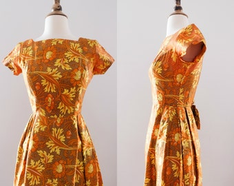 1960s Paisley Silk Wiggle Dress with Bow and Ruffle