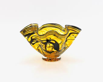 Hand Blown Glass Bowl in Gold Amber