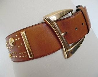 SALE :))) ESCADA . Golden Studs . Cognac Chustnut Brown Leather Belt 80s God-Toned Metal Buckle Size L large Xl