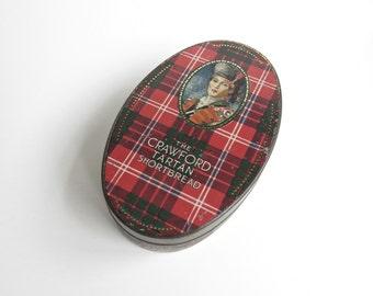 Vintage Crawford Tartan Shortbread Oval Tin Scottish Small