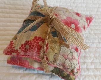 Kimono lavender pillows, embroidered sachets, lavender bags; Japanese sachets, scented pillows; drawer freshener, housewarming, gift for her