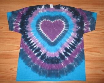 S M L Xl 2x 3x 4x 5x 6x Heart Tie Dye- Kids Adult Plus Size tie dye Cool Blues Heart Shirt