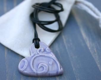 heart pendant, ceramic jewelry, heart necklace, purple heart, pottery pendant, love heart, gift idea, porcelain pendant, boho jewelry, heart