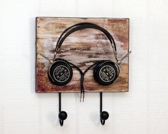 1920's Headphone Hangers Wall Hooks - Upcycled pair of vintage / antique Little Tattler Headphones