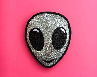 Silver Glitter Alien Clutch Handbag
