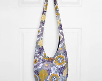 Hobo Bag Boho Bag Cross Body Bag Hippie Purse Sling Bag Bohemian Purse Floral Hobo Purse Hippie Bag Slouchy Bag Handmade Purse Fabric Purse