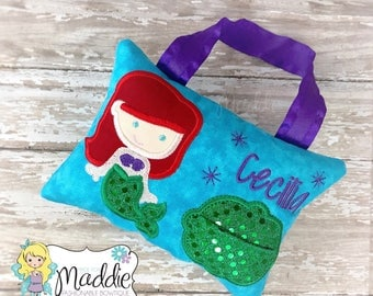 Girls Tooth Fairy Pillow, Tooth Fairy Pillow, Mermaid Tooth Fairy Pillow, Keepsake, Tooth Pillow Girl, Birthday Gift, Personalized Pillow