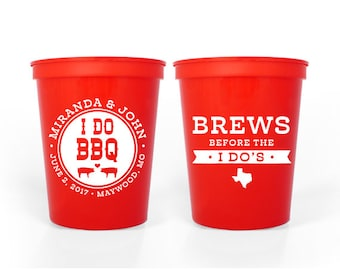 Custom Wedding Favor - I Do BBQ Rehearsal Dinner - I Do BBQ Engagement Party Dinner - 16 oz. Stadium Cups