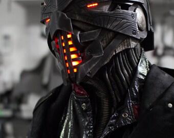 Pre-order for july 2017 - Erebus original design full overhead mask/helmet w/ neck guard - custom made-to-order original LED sci-fi helm