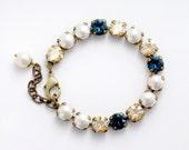 Navy Blue Bracelet, Blue Rhinestone Bracelet, Cream Pearl Bracelet Pearl Jewelry, Nickel Free Bracelet, Blue Austrian Crystal Bracelet Eiric