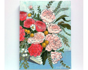 Original floral still life painting - From a Table in New London
